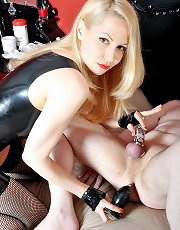 Harsh strapon femdom fuck along blonde mistress