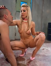 Enslaved guy enjoys cock torture along blonde beauty
