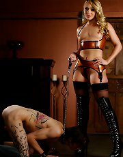 Mistress AJ Applegate orders her slave to worship her boots.